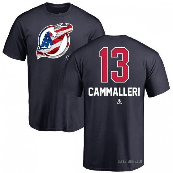 Men's Mike Cammalleri New Jersey Devils Name and Number Banner Wave T-Shirt - Navy