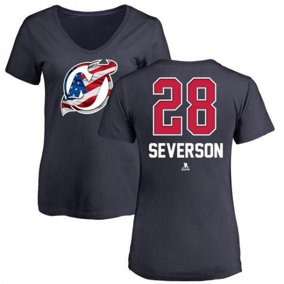Women's Damon Severson New Jersey Devils Name and Number Banner Wave V-Neck T-Shirt - Navy