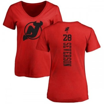 Women's Damon Severson New Jersey Devils One Color Backer T-Shirt - Red