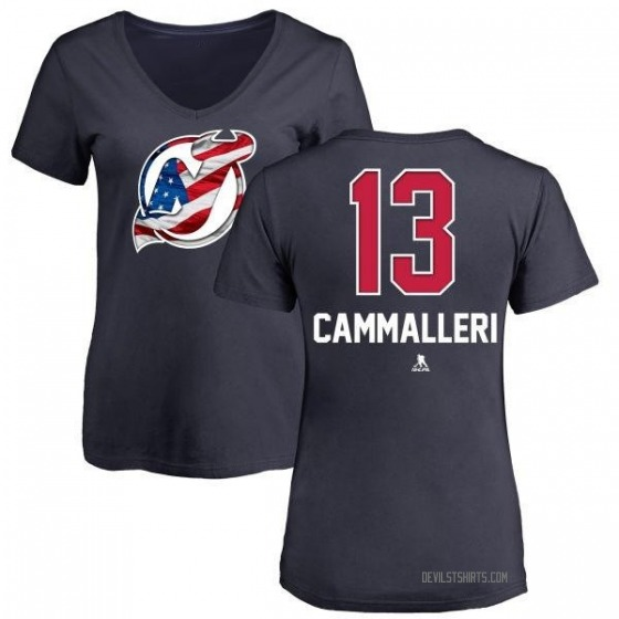 Women's Mike Cammalleri New Jersey Devils Name and Number Banner Wave V-Neck T-Shirt - Navy