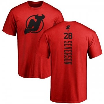 Youth Damon Severson New Jersey Devils One Color Backer T-Shirt - Red